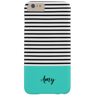 Black White Turquoise Stripe Pattern Custom Name Barely There iPhone 6 Plus Case