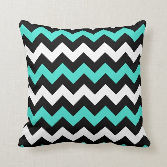 Black White Turquoise Zigzag Cushion