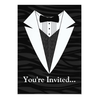 Black/White Tuxedo 13 Cm X 18 Cm Invitation Card