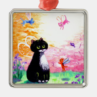 Black White Tuxedo Cat Fairies Creationarts Christmas Ornament