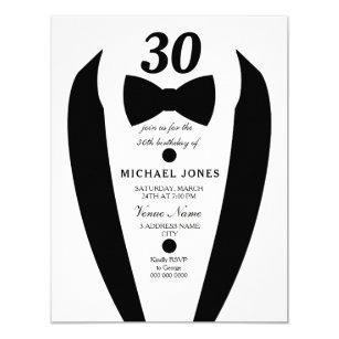 Black White Tuxedo Mens 30th Birthday Party Invite