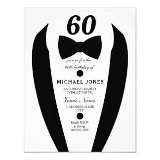 Black white Tuxedo Mens 60th Birthday Party Invite