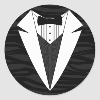 Black/White Tuxedo Round Sticker