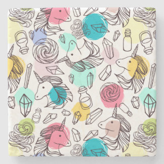 Black & White Unicorn Sketch - Colorful Polka Dots Stone Coaster