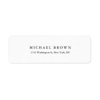 Black White Unique Classical Elegant Plain Return Address Label