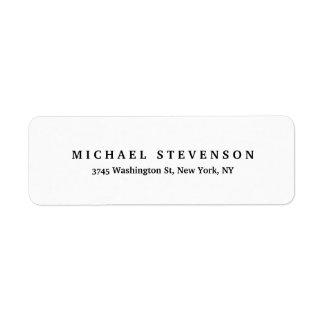 Black White Unique Classical Return Address Label