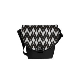 Black White Unique ZigZag Pattern - Messenger Bag