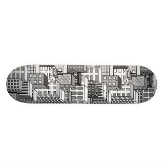 Black White Vector Cityscape Skateboard Decks
