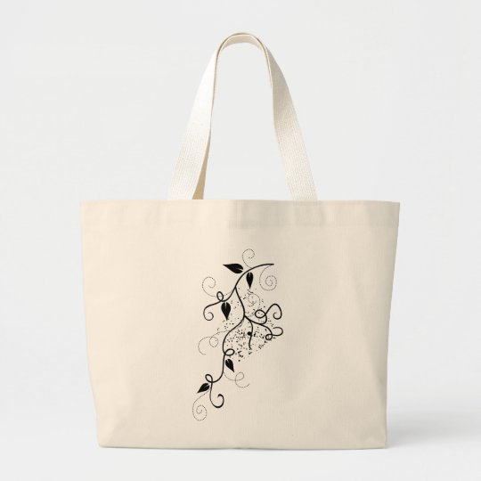 Black & white vector ivy swirl branch silhouette large tote bag