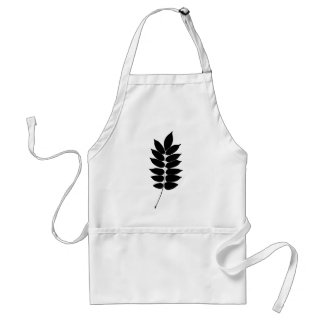 Black & white vector laurel branch silhouette adult apron