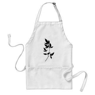 Black & white vector leaves branch silhouette standard apron