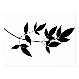 Black & white vector leaves branch silhouette postcard