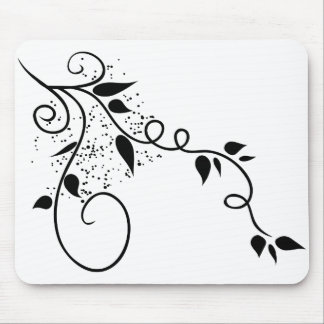 Black & white vector swirl branch silhouette mouse mat