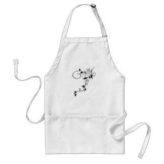 Black & white vector swirl branch silhouette standard apron
