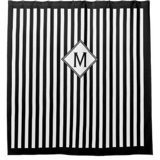 Black & White Vertical Stripes & Box Monogram Shower Curtain