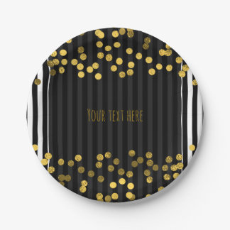 Black & White Vertical Stripes Gold Faux Foil Dots 7 Inch Paper Plate