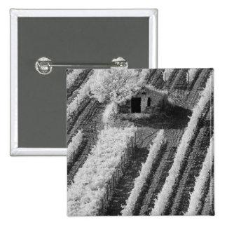 Black & White view of small stone barn 15 Cm Square Badge