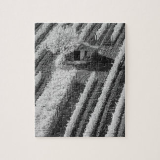 Black & White view of small stone barn Jigsaw Puzzle