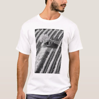 Black & White view of small stone barn T-Shirt