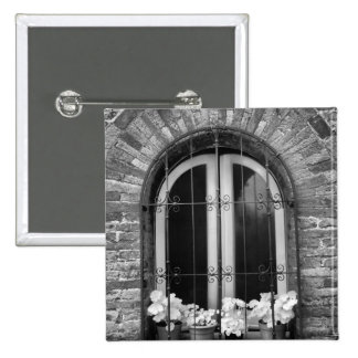 Black & White view of window and flower pots 15 Cm Square Badge