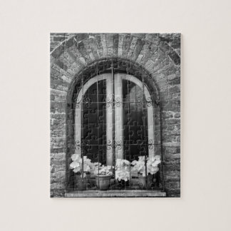 Black & White view of window and flower pots Jigsaw Puzzle