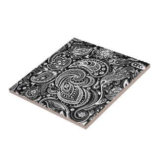 Black & White Vignette Paisley Lace Pattern Small Square Tile