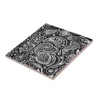 Black & White Vignette Paisley Lace Pattern Tile