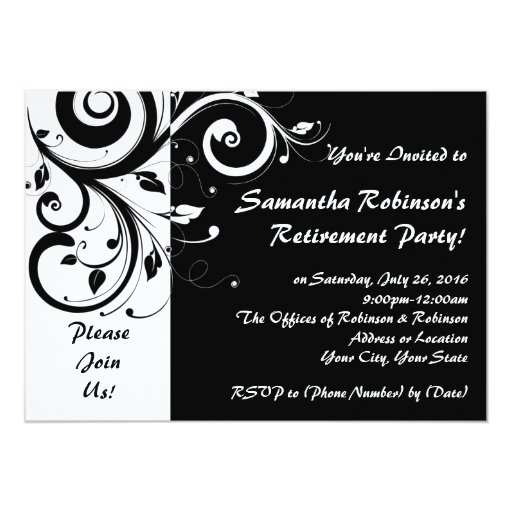 Black+White Vine Swirl Retirement Party Invitation