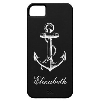Black & White Vintage Anchor Custom Monogram Barely There iPhone 5 Case