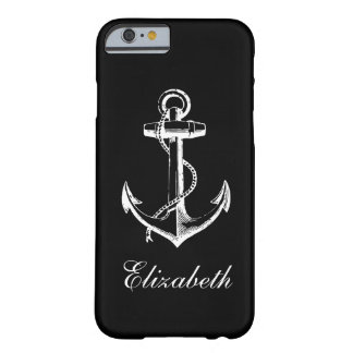 Black & White Vintage Anchor Custom Monogram Barely There iPhone 6 Case