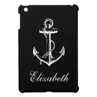 Black & White Vintage Anchor Custom Monogram Cover For The iPad Mini