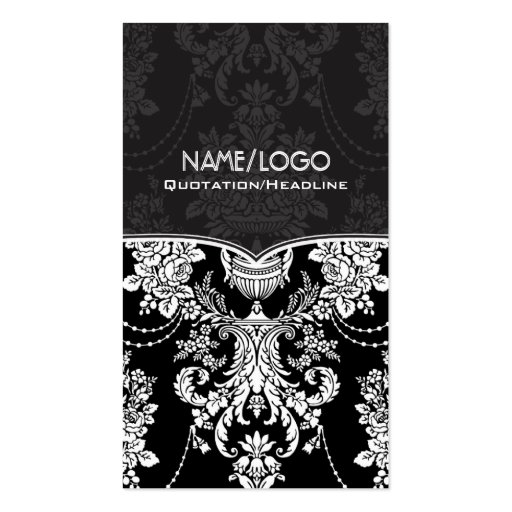 Black & White Vintage Baroque Style Design Pack Of Standard Business Cards