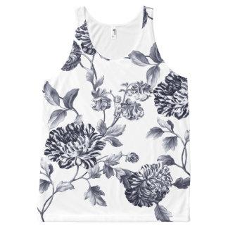 Black & White Vintage Botanical Floral Toile No.2 All-Over Print Tank Top