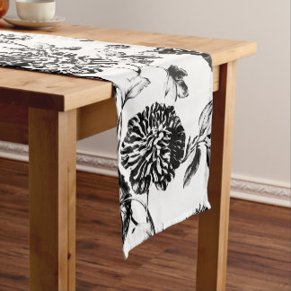 Black & White Vintage Botanical Floral Toile No.2 Short Table Runner
