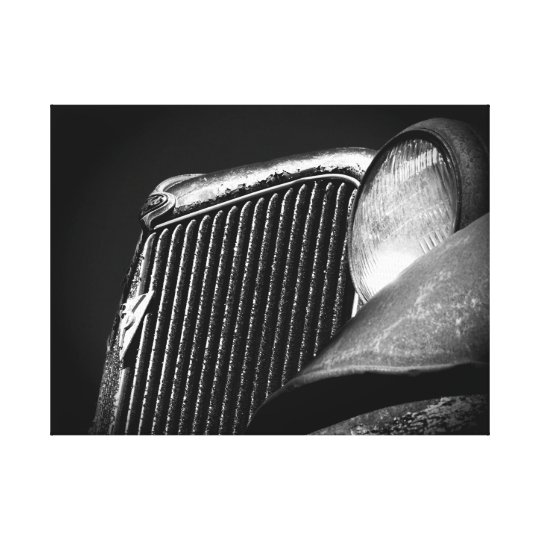 Black & White Vintage Car Grill Canvas Print