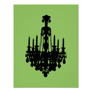 Black & White Vintage Chandelier Graphic Poster