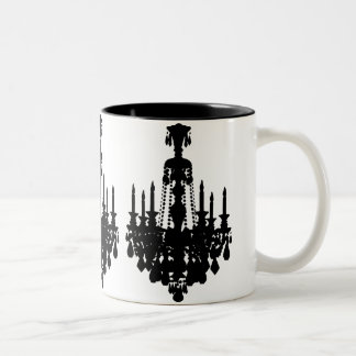 Black & White Vintage Chandelier Graphic Two-Tone Coffee Mug