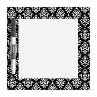 Black White Vintage Damask Pattern 1 Dry Erase Whiteboard