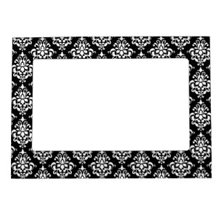 Black White Vintage Damask Pattern 1 Magnetic Picture Frame