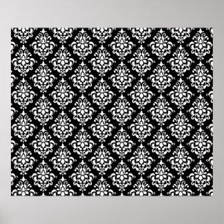 Black White Vintage Damask Pattern 1 Poster