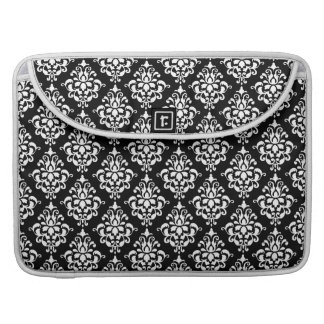 Black White Vintage Damask Pattern 1 Sleeve For MacBook Pro