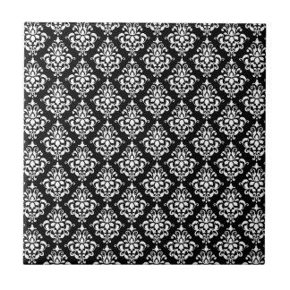 Black White Vintage Damask Pattern 1 Tile