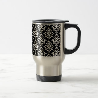 Black White Vintage Damask Pattern 1 Travel Mug