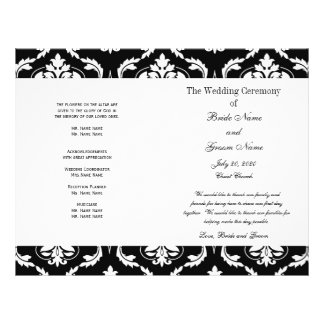 Black White Vintage Damask Wedding Program Flyers