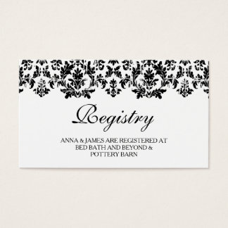 Black & White Vintage Damask Wedding Registry Card