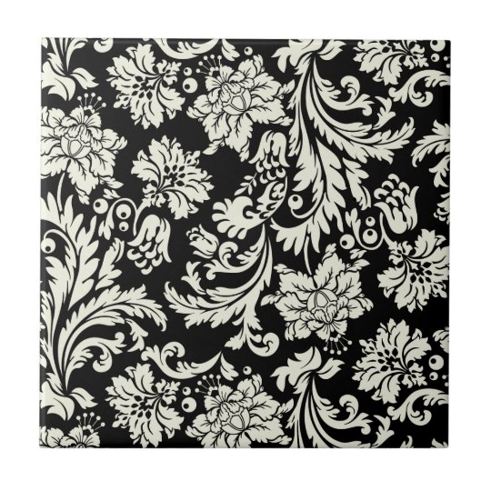 Black & White Vintage Floral Damask Pattern Small
