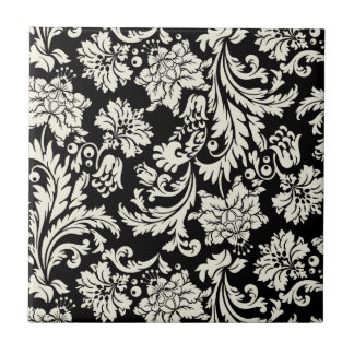 Black & White Vintage Floral Damask  Pattern Tile