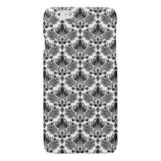 Black & White Vintage Floral Damasks Pattern iPhone 6 Plus Case
