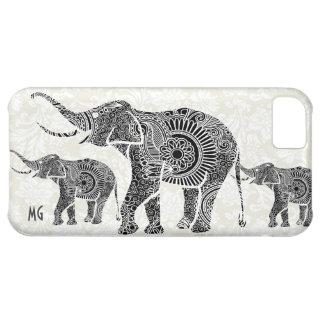 Black & White Vintage Floral Elephant-Monogram iPhone 5C Case