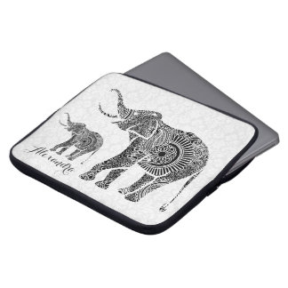 Black & White Vintage Floral Elephant-Monogram Laptop Sleeve